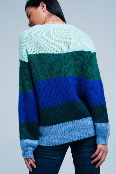 Green Striped Oversized Sweater