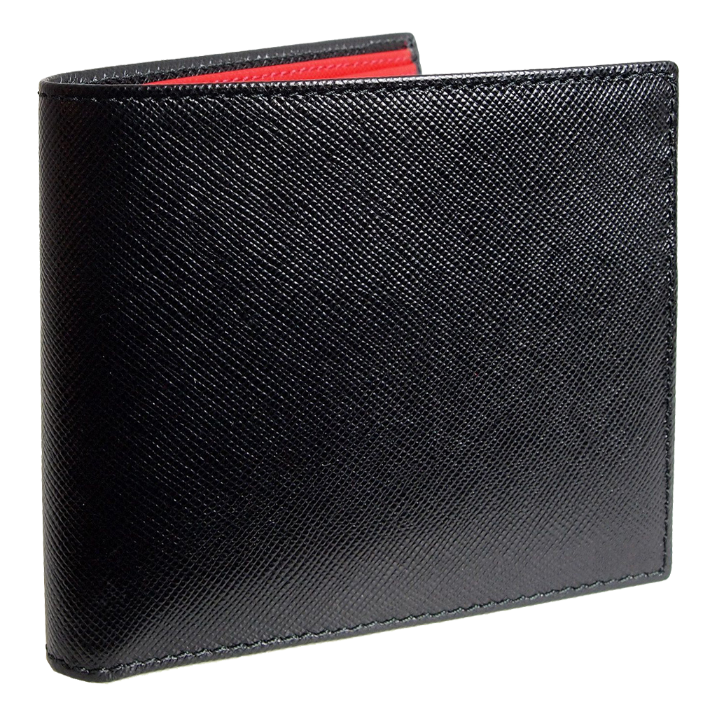 8 Cc Saffiano Bi-Color Billfold Black-Red