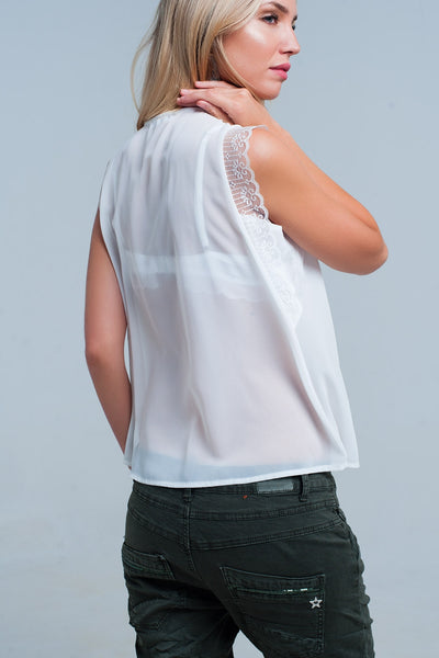 White Sleeveless Blouse With Pleated