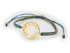 Golden Shema Adjustable Bracelet (Blue And Metal Cord)