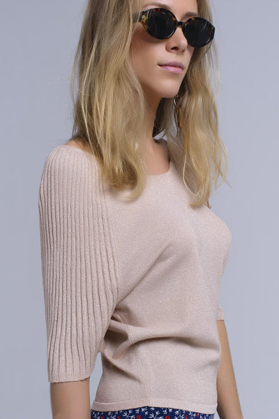 Beige Shiny Sweater With Ribbed Sleeves