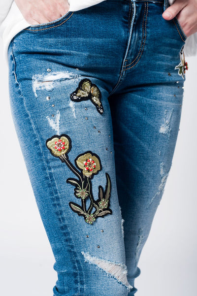 Skinny Rip Jeans With Embroidered Patches