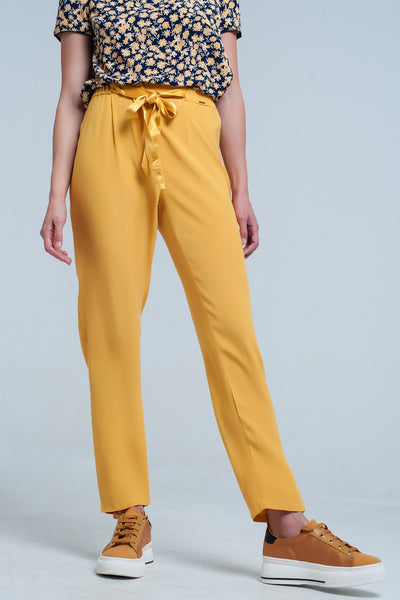 Mustard Slim Fit Pants With Satin Belt