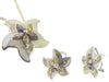 Vintage Flower Mother Of Pearl Earring And Pendant Set   925 Sterling Silver Cubic Zirconias