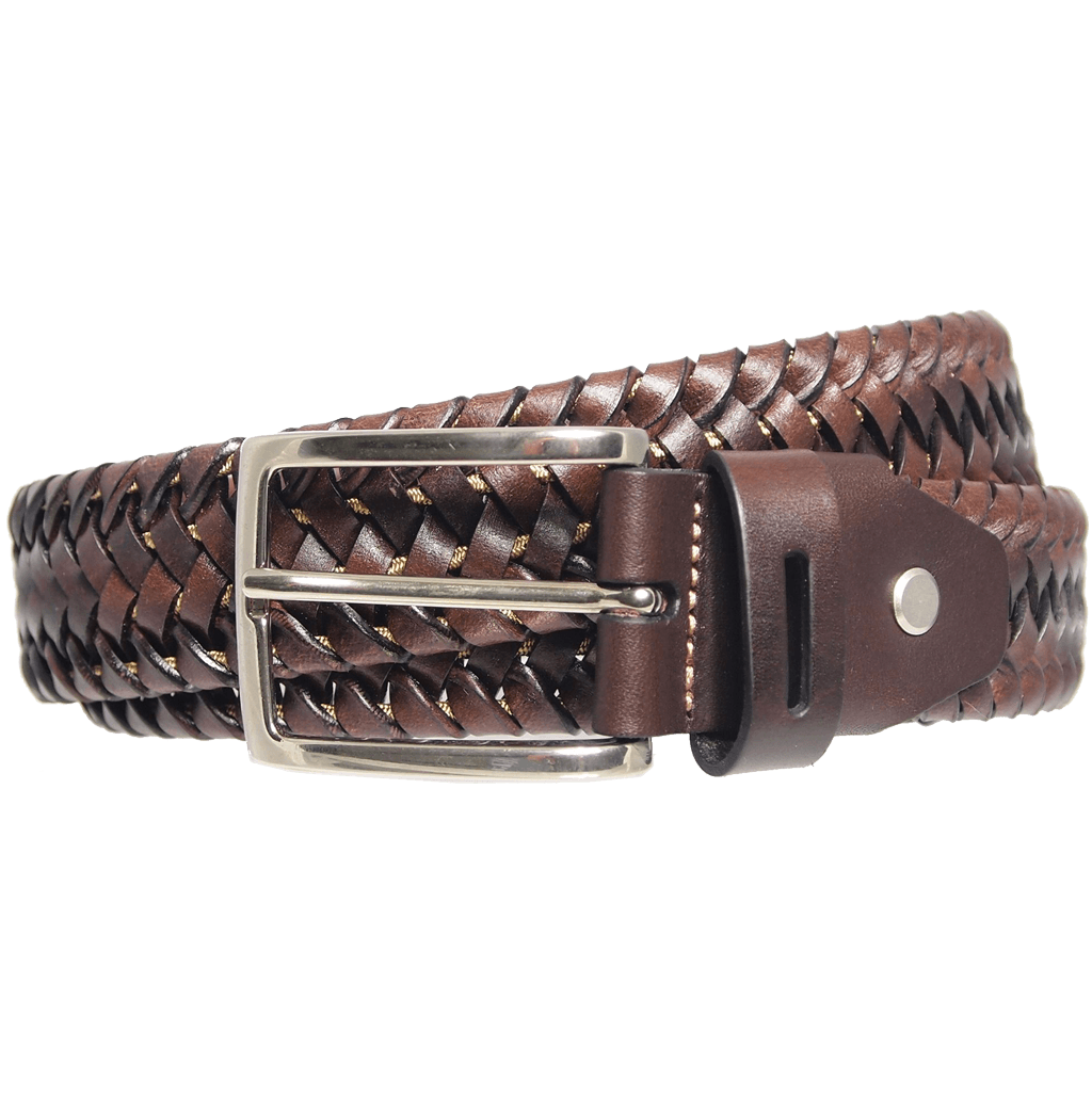 34Mm Leather Elastic Weave Belt Brown