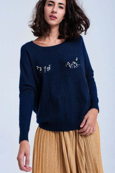 Navy Sweater With Eyelashes