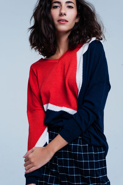 Orange And Navy Color Block Sweater