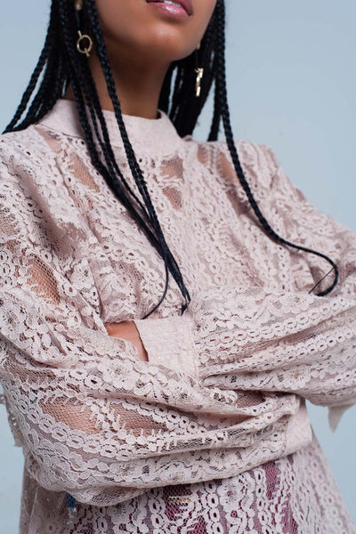 Beige Lacy Shirt And Ruffles