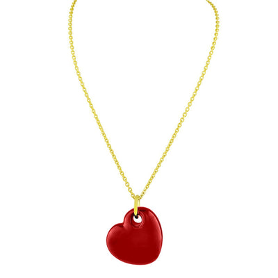 18K Gold Plated Red Enamel Puffy Heart Necklace, 15 Inches