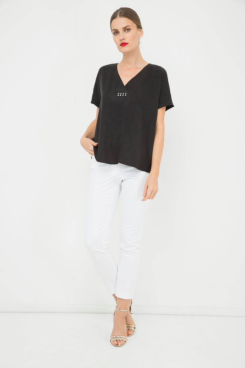 Black V Neck Top With Motif