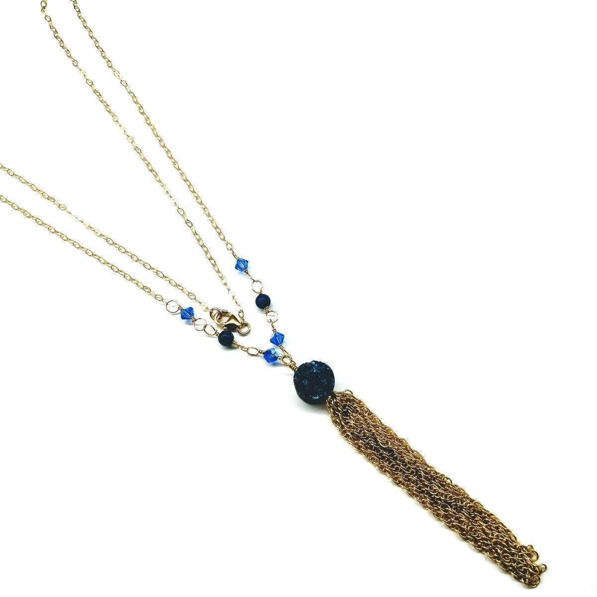 14 Kt Gold Filled Blue Agate Druzy Long Tassel Necklace