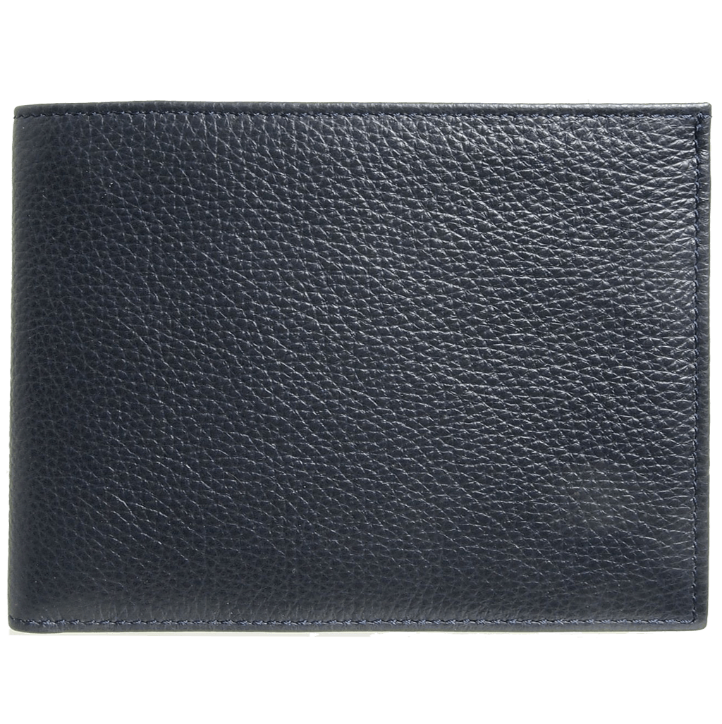 8 Cc Grained Calf Leather Billfold Blue
