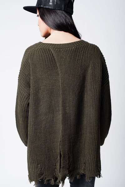 Khaki Knit Sweater With Patches