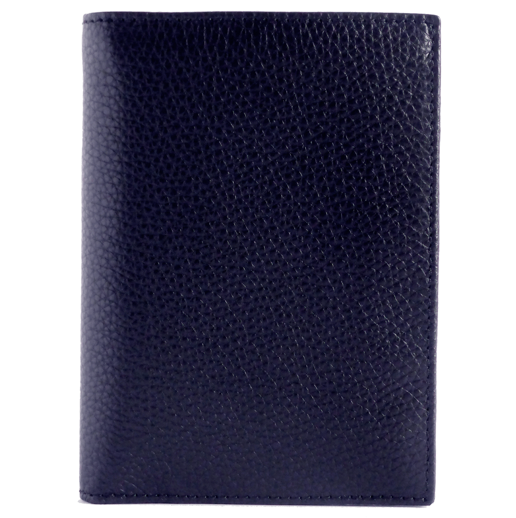 8 Cc Grained Calf Leather Pocket Billfold Blue