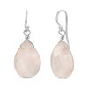Natural Rose Quartz Drop Earrings In 925 Sterling Silver
