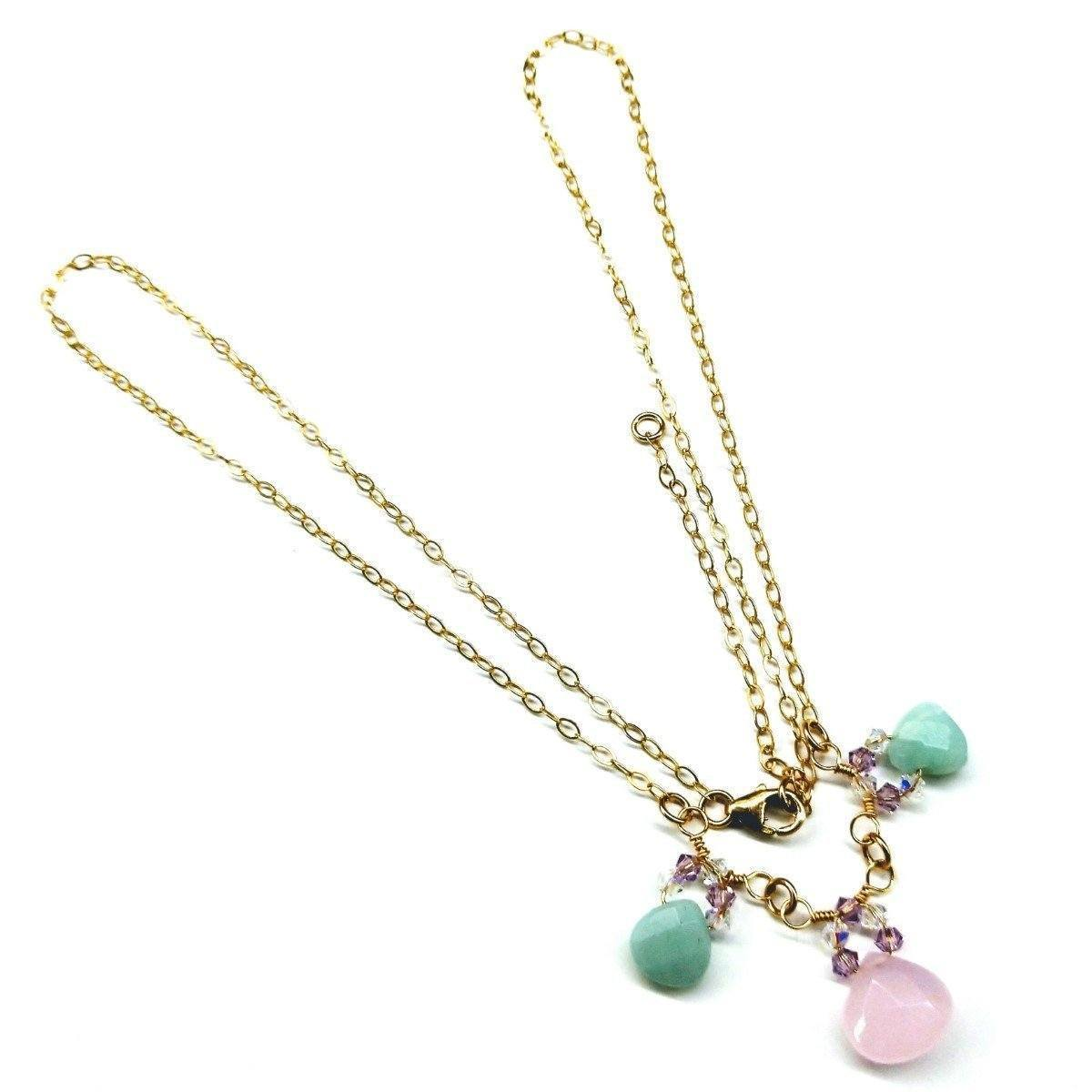 Light Pink And Mint Gemstone 14 Kt Gold Filled Necklace