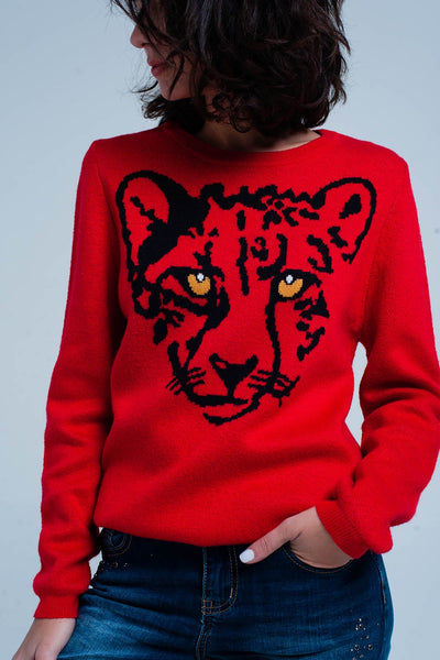 Red Knitted Sweater With Leopard