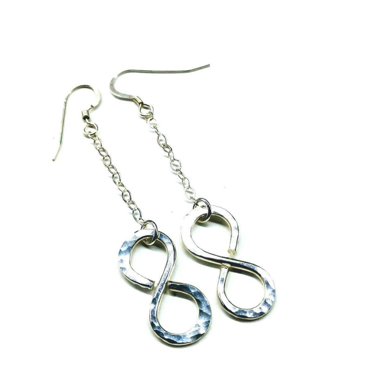 Sterling Silver Hammer Patterned Infinity Earrings