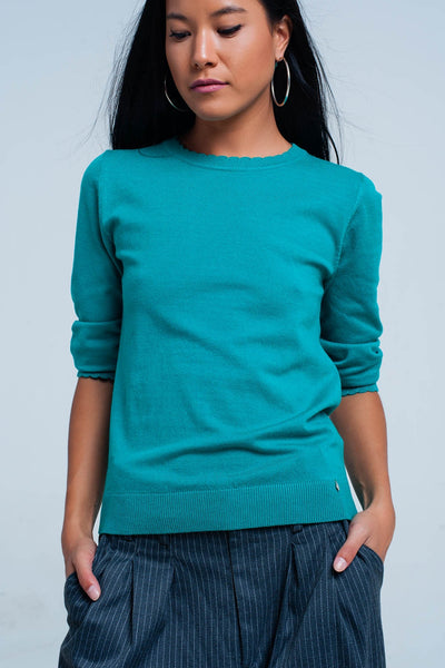 Green Fine Knit Sweater In 3/4 Sleeve