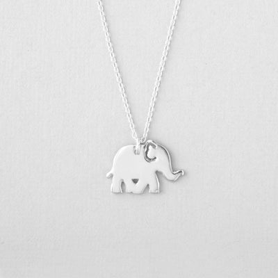 Elephant Necklace - Solid Sterling Silver Jewelry