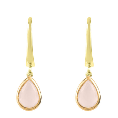 Pisa Mini Teardrop Earring Gold Rose Quartz