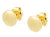 Mirror Gold Button Stud Earrings In Sterling Silver, 9Mm