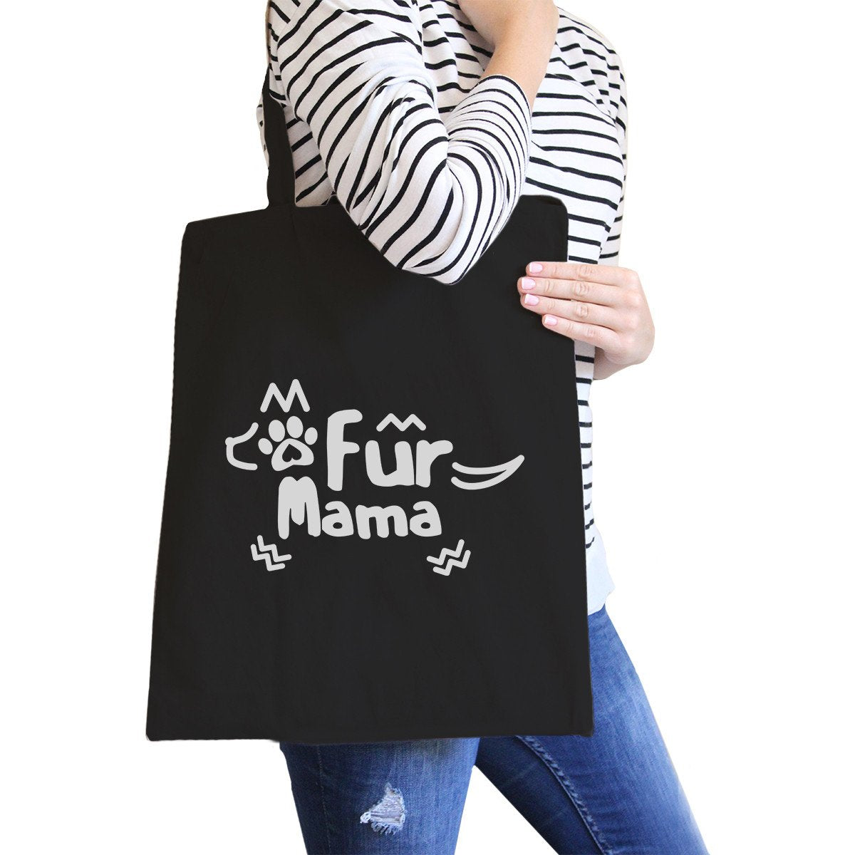 Fur Mama Black Canvas Tote Bag Unique Design Grocery Bags For Moms