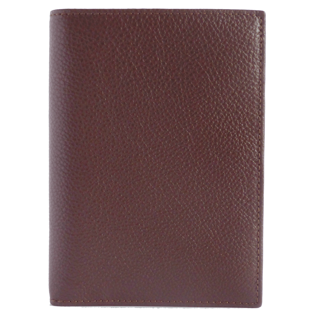 8 Cc Grained Calf Leather Pocket Billfold Brown