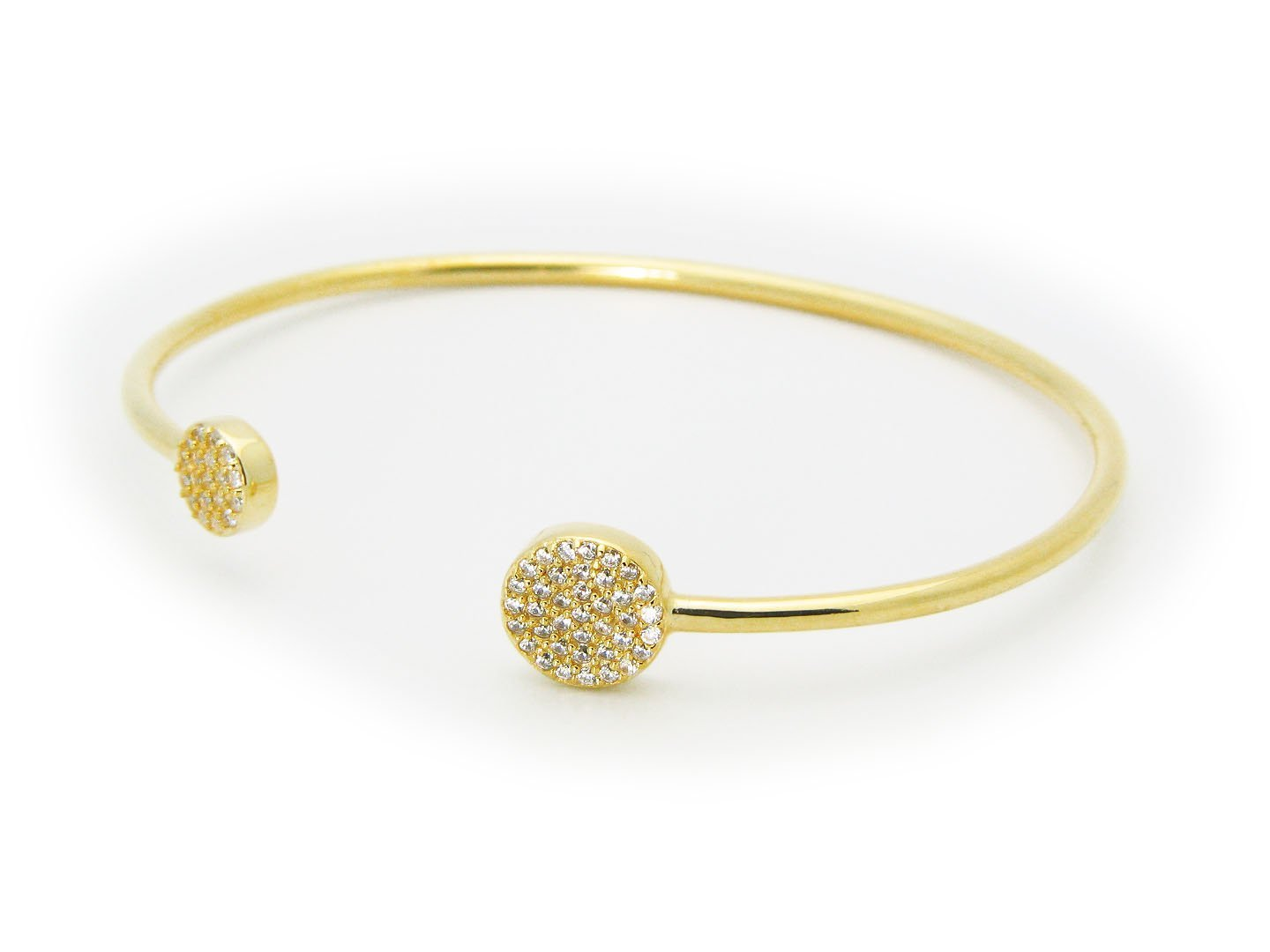 18K Gold Plated Sterling Silver Studded Disks Cuff Bangle