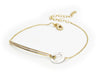 "Sterling Gold Plated Silver 6.5""+2"" Cz Bar Thin Bracelet With Circle"