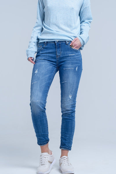 Ankle Jeans With Rip And Repair