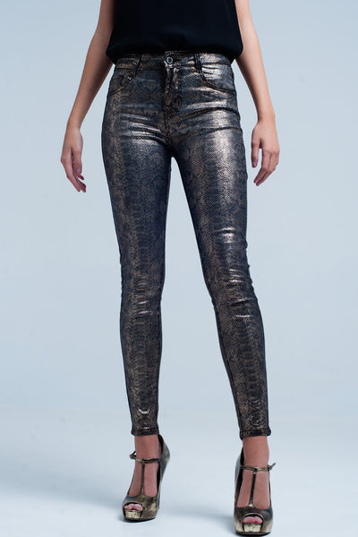 Gold Skinny Pants In Snake Print