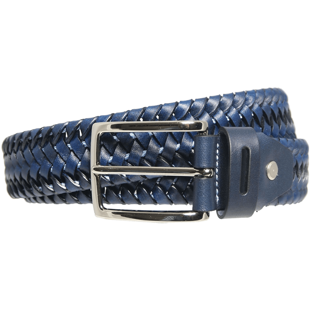 34Mm Leather Elastic Weave Belt Blue