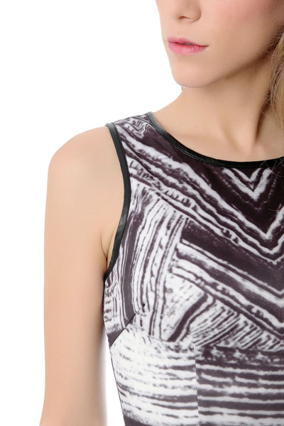 Sleeveless Mini Dress With Abstract Print