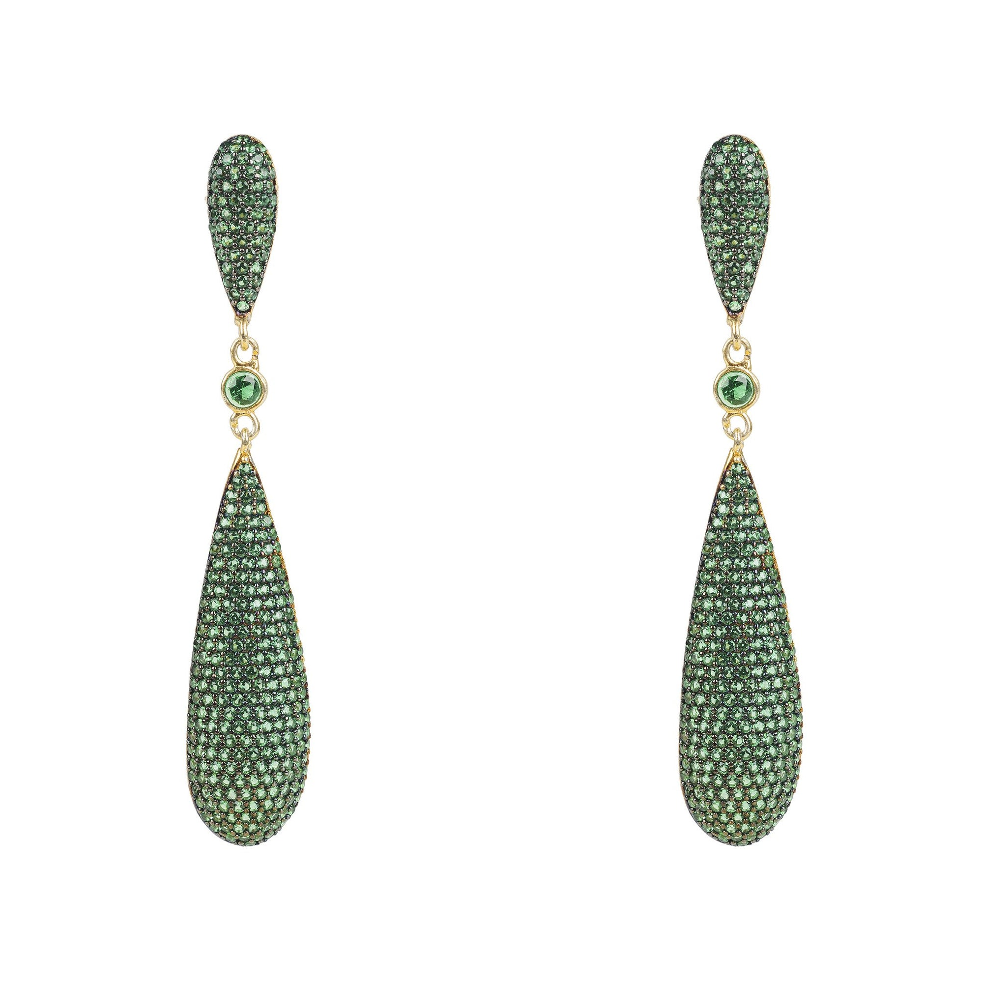 Coco Long Drop Earrings Green Cz