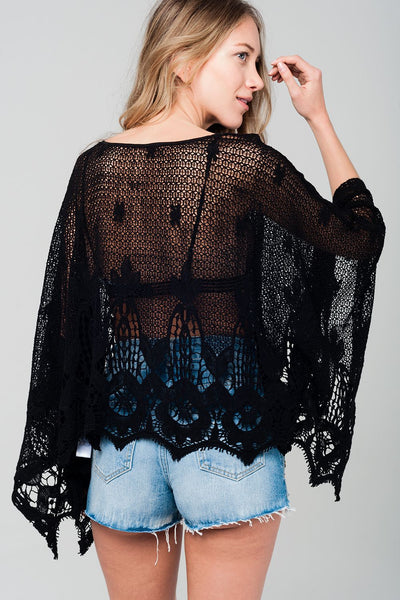 Oversized Crochet Top In Black