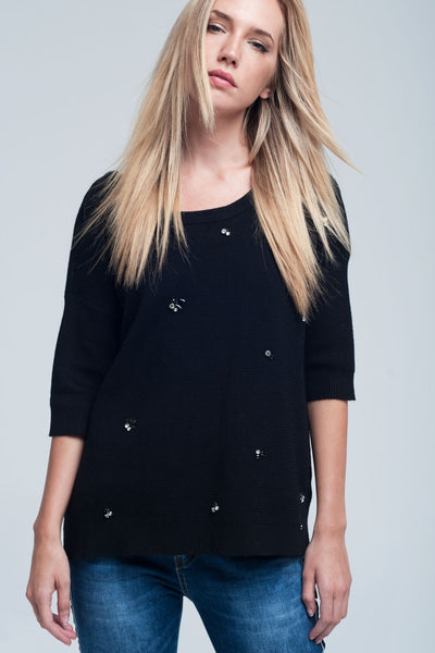 Asymmetric Embellished Black Sweater