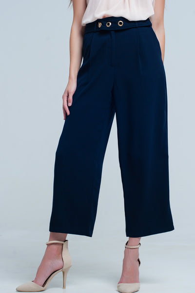 Navy Ankle Pants With Belt Detail