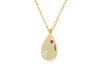 Red Cz Tear Drop Necklace (Gold)