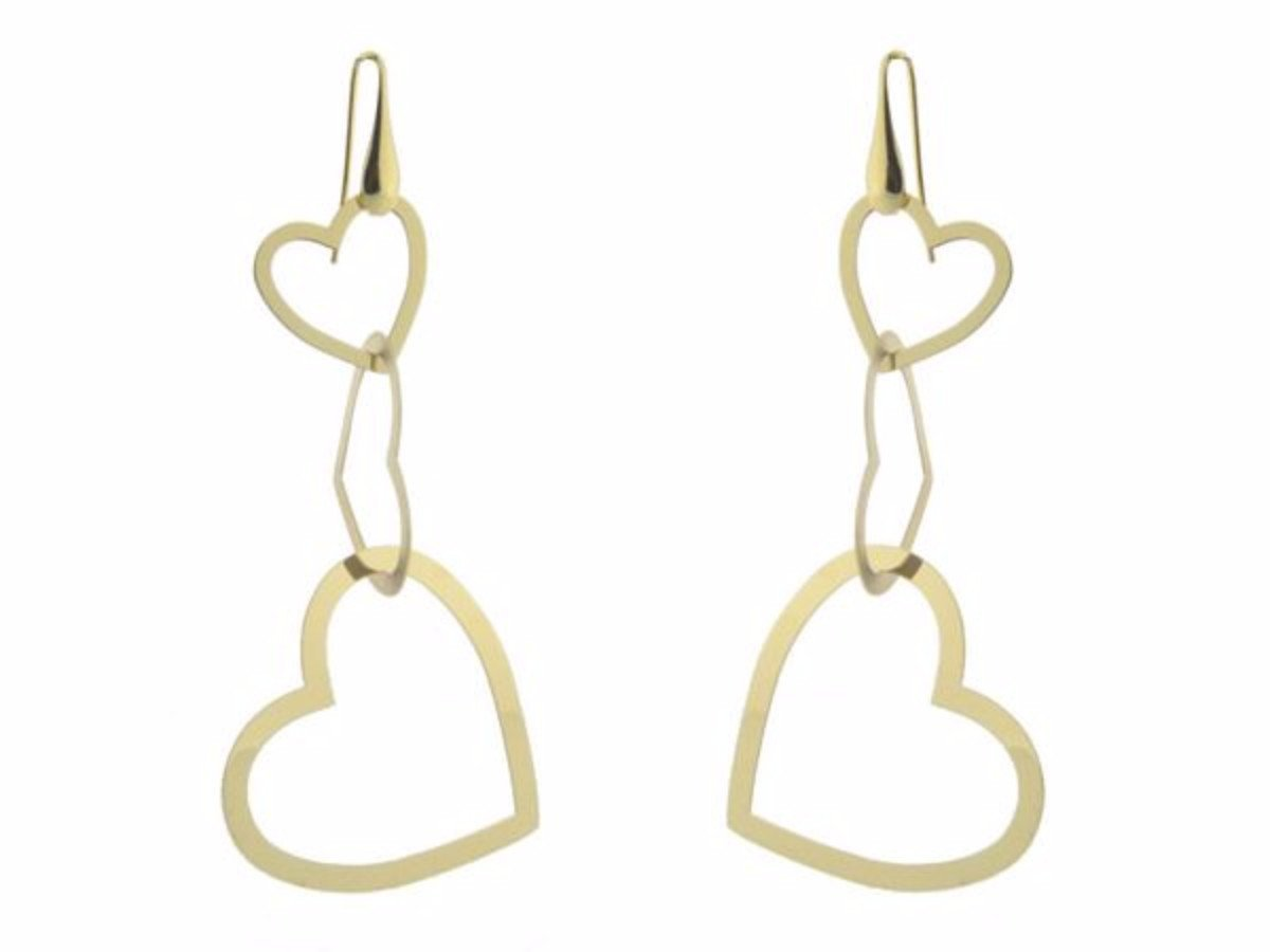 18K Gold Plated Sterling Silver Dangling Silhouette Heart Earrings, 3""