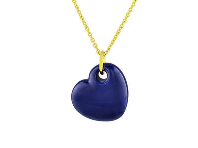 18K Gold Plated Blue Enamel Puffy Heart Necklace, 15 Inches