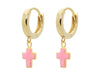 Mini Huggie Girls Earrings With Pink Enamel Cross In Vermeil