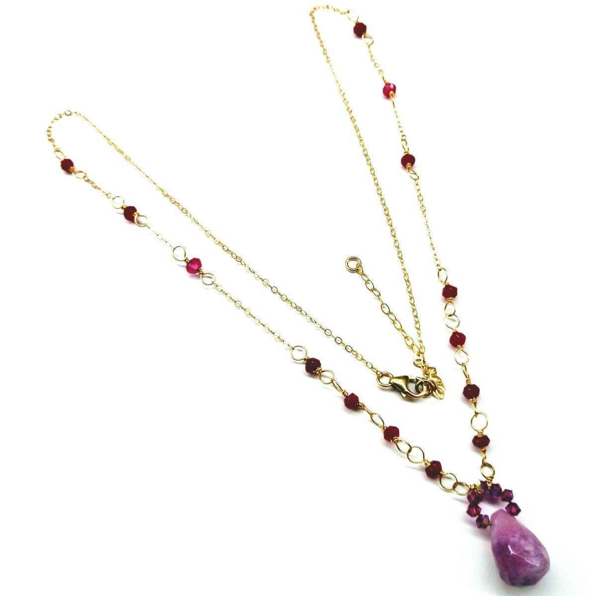Lavender Jade Drop Gemstone Wire Wrapped 14Kt Gold Filled Necklace