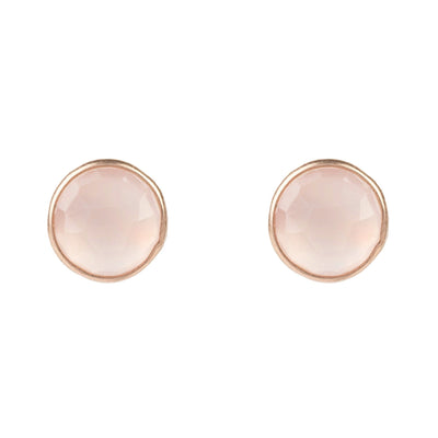 Medium Circle Stud Rosegold Rose Quartz