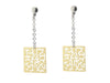 Sterling Silver Earring Dangling Filigree Squares Gold Plated