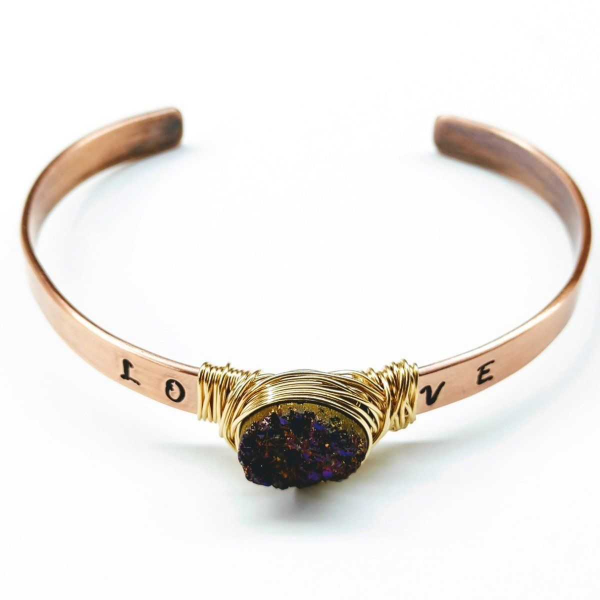 Love Stamped Gold Wire Wrapped Purple Druzy Copper Cuff