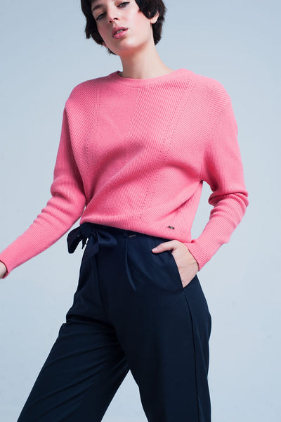Pink Textured Sweater With Round Neck