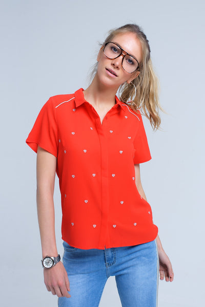 Red Shirt With Heart Embroidery