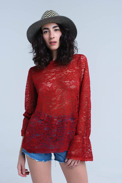 Burgundy Sheer Lace Top With Bell Sleeves