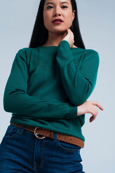 Green Woolen Sweater With Textured Detail